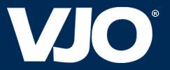 VJO logo - white font on dark blue background